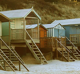 Traditional beach huts on the north Norfolk coast